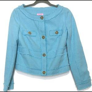 Lilly Pulitzer Aqua Blue Millie Crop Tweed Blazer